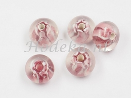 GLP13   1 x Glaskraal Rondel Roze wit 8 x 12 mm