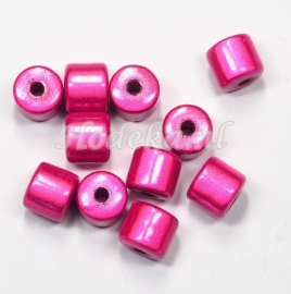 MIT08/08  8 X miracle beads Tube ca 8mm Donker Roze