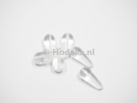 CZD08  5 x Tsjechische Glaskraal Druppel 20 x 9mm Transparant