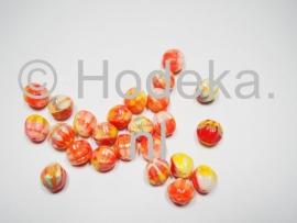 CZR22  6 x Tsjechische Glaskraal Rond 10mm multi kleuren