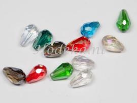 FCT12/01  8 x Facet glaskraal Druppel Mix van diverse kleuren 12 x 8 mm