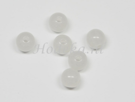 ACP08/15   18 x acryl kraal rond 8mm  Melk Wit