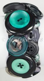KPK01 Knopen armband pakket Zeegroen/Zwart