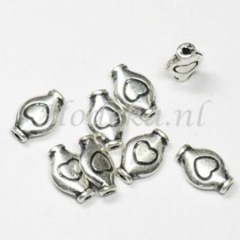 MTL66   6 x metalen kraal  11 x 7 mm Antiek Zilver