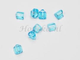 CZA06  50 x Tsjechische Glaskraal driekoek 4.5x5mm Blauw