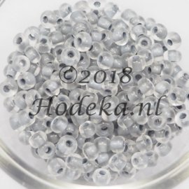 CRP06/46a  50 gram Preciosa Rocailles 6/0  mat transparant grijze kern