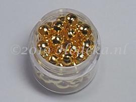 MTL109   Potje met ca. 60 x basis kraal Goud 5mm