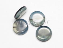 CPR06   6 x Tsjechische Glaskraal Plat rond 15mm Grijs tinten