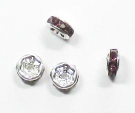 MTS07  5 x Metalen kraal met strass Paars 6 x 3 mm
