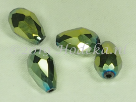 FCT15/18a  25 x Facet glaskraal Groen/Goud/Blauw 15 x 10mm
