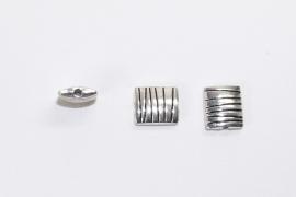 MTL09   5 x  metalen kraal Rechthoek  10x9mm Antiek Zilver