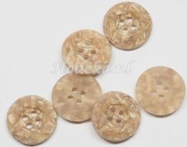 KNO119  1 x knoop Beige met stukjes hout ca. 15 mm