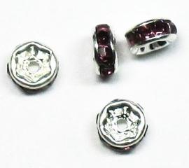 MTS08  5 x Metalen kraal  met strass Donker Paars 6 x 3 mm