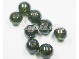 GLR16   10 x Glaskraal Rond Donker groen Glans ca.12mm.