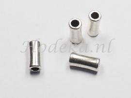 MTL55   6 x metalen kraal Buisje 12 mm Antiek Zilver