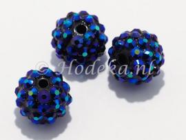 ACP14/21  2 x acryl kraal 14mm met strass Donker Blauw/Paars