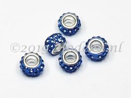 PDM48  1 x pandora style kraal met midden blauwe strass steentjes