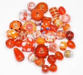 GMM17   50 gram Glaskralen mix Oranje