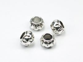 MLK04  6 x metallook kraal met groot gat  11 x 8mm antiek zilver