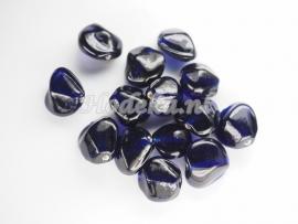 GKO07a  40 x Glaskralen Fantasie Heel Donker Blauw ca. 16mm