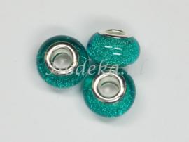 PDK19  1x pandora style Kunsthars kraal Glitter Blauw/Groen