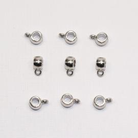 MTL11   6 x  metalen kraal met oog  4x6x9mm Antiek Zilver