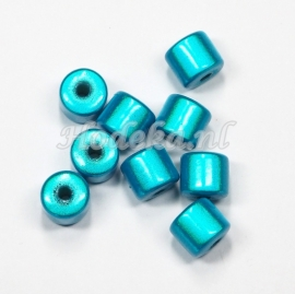 MIT08/04  8 X miracle beads Tube ca 8mm Aqua Blauw