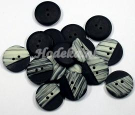 KNO64  1 x  Prachtige Zwart Room witte  knoop ca. 23 mm