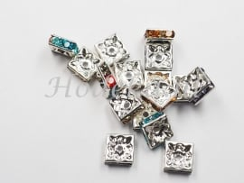 MTS18  10 x Metalen kraal  met Strass Mix Vierkant 8 x 3 mm