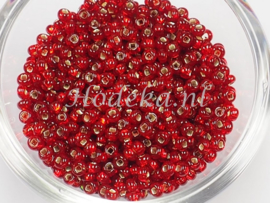 CRP08/57a  50 gram Preciosa Rocailles 8/0 Rood silverlined