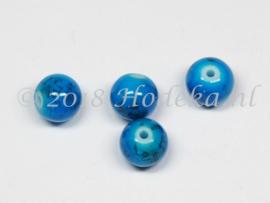 GLR69  8 x Glaskraal  gemêleerd Licht Blauw, Blauw en Zwart 10mm