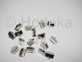 BVK15 8 x  Veter/Leer klem ca. 10 x 7 mm Antiek zilver