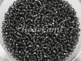 CRP11/41  12 gram Preciosa Rocailles 11/0 Antraciet silverlined
