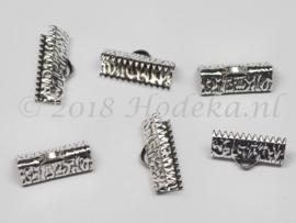 BVK08  6 x  Veter/Leer klem ca. 16 x 8 mm Antiek zilver