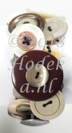 KPK05 Knopen armband pakket Leger beige/Bruin