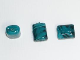 GLS05a   25 x  Glaskraal Rechthoek Petrol 15 mm