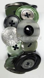 KPK04 Knopen armband pakket Leger groen/Zwart