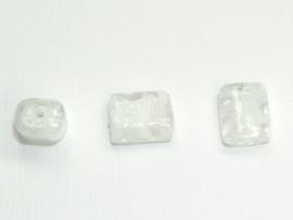 GLS03a   25 x  Glaskraal Rechthoek Wit 15 mm