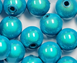 MIR10/15  8 X miracle beads Aqua Blauw  10mm