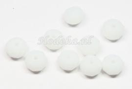 FCT08-15  10 x Facet geslepen glaskraal MelkWit 6x8mm