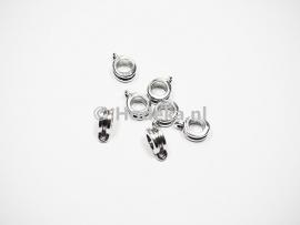 MTL53   4 x  metalen kraal Rond met oog Antiek Zilver