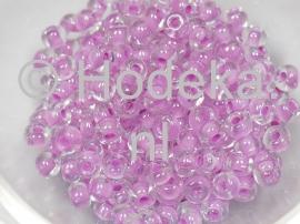 CRP06/12  12 gram Preciosa Rocailles 6/0 transparant met lila kern