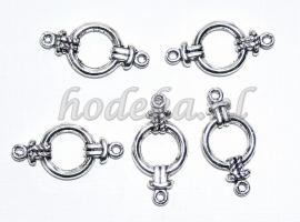 BVD03a 20 x metalen verdeler antiek zilver ca. 25mm met 2 gaten