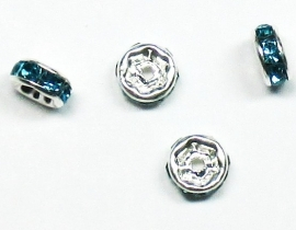 MTS04  5 x Metalen kraal met strass Aqua 6 x 3 mm