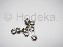 PDM24 2 x pandora style metalen kraal Rondel 11mm