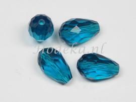 FCT15/10a  25 x Facet glaskraal Druppel Donker (zee) Blauw 15 x 10mm