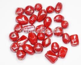 VRM23   50 gram Glaskralen mix Rood/Bruin