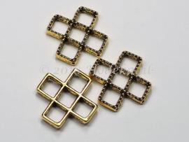 BVD23   1 x metalen verdeler kruis antiek goud ca. 24 x 24 x 5mm