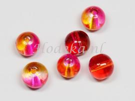 GLR62  12 x Glaskraal Oranje en Roze 8x9mm