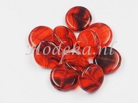 CPR04  10 x Tsjechische Glaskraal Plat rond 10mm Oranje en Bruin